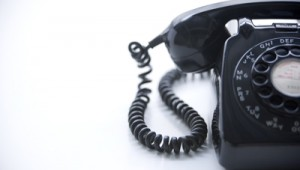 Studio Shot Of A Black Rotary Phone