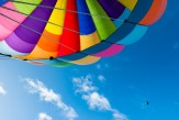 Colorful Hot Air Balloon Flying in the Blue Sky