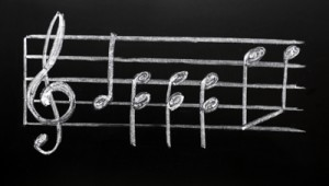 Clef on a blackboard